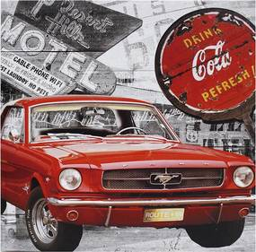 Tela Impressa Mustang Vermelho Coca Cola Fullway - 50x50 cm