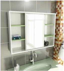 Espelheira para Banheiro Modelo 22 80 cm Branca e Verde Tomdo