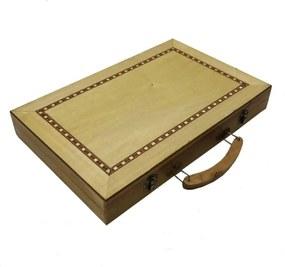 Jogo gamão grande c/ caixa de madeira