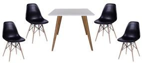 Conjunto Mesa Square Quadrada Branco Fosco 90x90cm + 2 Cadeiras Eiffel Preta Copy