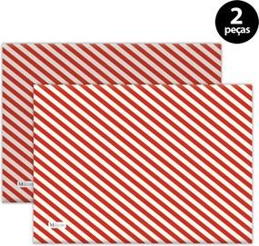Jogo Americano Mdecore Natal Listras 40x28 cm Vermelho 2pçs