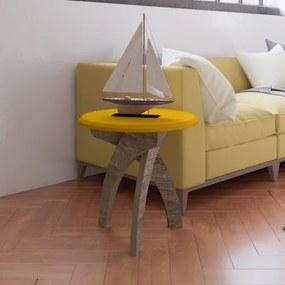 Mesa De Apoio Retrô Cor Amarelo Com Canela - Artely Jade