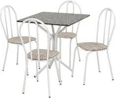 Jogo de Mesa e 04 Cadeiras Thais com Tampo Granito Branca/Assento Ratt