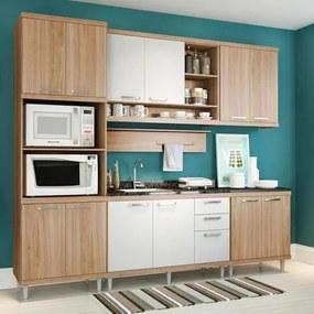 Cozinha Compacta - Armário para Forno/Micro-ondas, Aéreos e Balcões para Pia/Cooktop - Argila/Branco