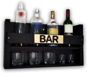 Barzinho Adega Para Vinhos e Bebidas Suspenso de Parede 60x35cm Soul Fins Preto Fosco