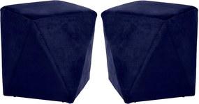 Kit 02 Puffs Decorativo Sala de Estar Blois Veludo Azul Bic - Gran Belo