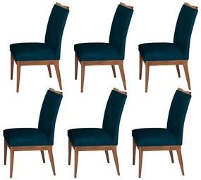 Conjunto 6 Cadeira Decorativa Leticia Veludo Azul Marinho