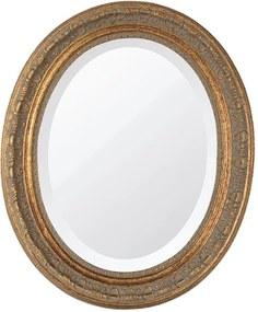 Espelho Oval Bisotê Ouro Envelhecido Médio