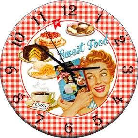 Relógio de Parede Retrô Vermelho em Madeira MDF - 28 cm