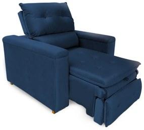 Poltrona Reclinável Retrátil Onix Veludo Azul Marinho - Sheep Estofados - Azul escuro