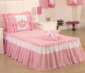 Colcha Solteiro Realeza Kit 03 Peças - Rosa / Branco