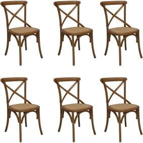 Kit 6 Cadeiras Decorativas Sala De Jantar Cozinha Danna Rattan Natural Bétula- Gran Belo