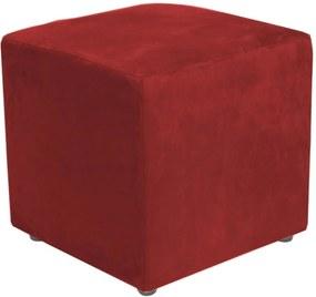Puff Quadrado Decorativo Suede 398 LymDecor Vermelho