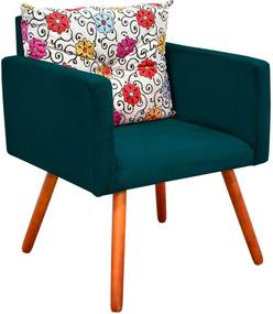 Poltrona Decorativa Bella Composê Estampado Floral Color D17 com Suede Verde Pavão - D'Rossi