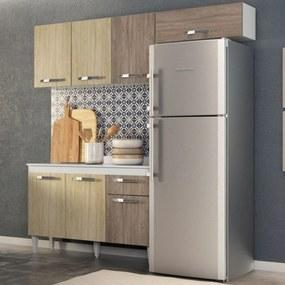 Cozinha Modulada 3 Módulos Composição 3 Branco/Carvalho/Castanho - Lumil Móveis