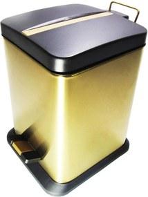 Lixeira Quadrada Dourada e Preta em Aço Inox Com Pedal 20L - By Fineza