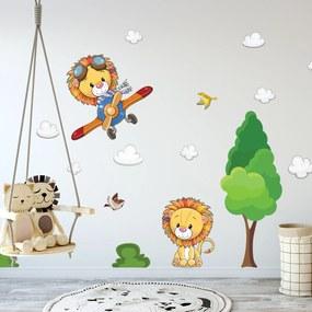 Adesivo de Parede Árvore e Leão Baby Infantil 136x165cm