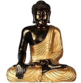 Estátua Buda Pátina | Preto e Dourado
