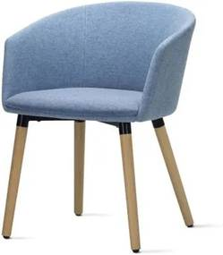 Poltrona Pix Assento Mescla Azul Base Fixa em Madeira - 55349 Sun House