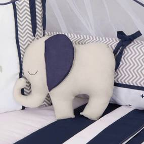Almofada Decorativa Elefante Cinza Azul Marinho