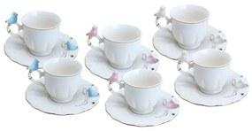 Jogo Xícaras Café Porcelana Birds Round Plate Colorido 100ml 35471 Wolff