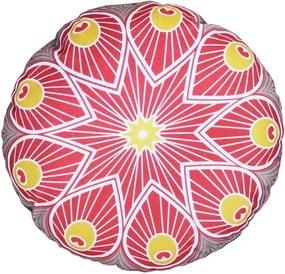 Almofada Redonda Cheia Indiana Vermelha com Cinza