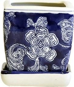 Cachepot em Porcelana Quadrado com Prato Floral Azul e Branco D09cm x A10cm
