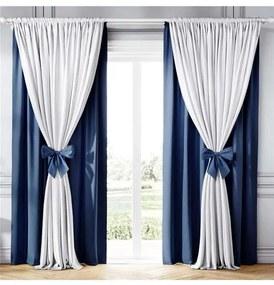 Cortina Clássica com Laços Branco e Azul Marinho A