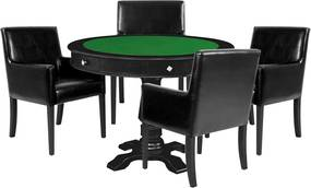 Mesa de Jogos Carteado Victoria Redonda Tampo Reversível Preto com Kit 4 Cadeiras Liverpool Corino Preto Liso - Gran Belo