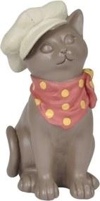 escultura gato BONIE resina bege 12,5cm Ilunato QC0445