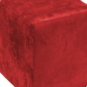 Puff Quadrado Decorativo Suede 485 Lym Decor Vermelho Amassado