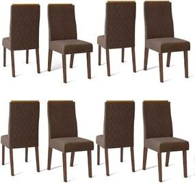 Conjunto 8 Cadeiras Cássia Rústico Malbec Tecido Veludo Moca