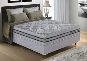 Conjunto Cama box (Colchão + Box) Molas Ensacadas - Tamanho Casal Platinum King Prata - Pilow top-in com espumas progressivas - 138x188x68 - King Konfort