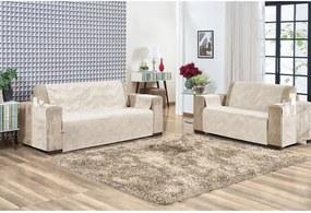 Protetor De Sofá Em Suede Liso Com Alta Qualidade 02 Peças Bege