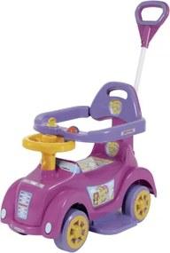 Carrinho e Andador Rosa Baby Car para Bebê com Empurrador Me