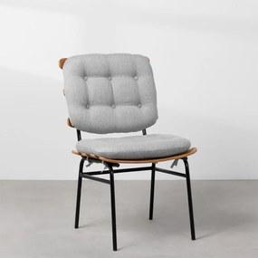 Cadeira de Escritório Costela Linho Fixa - Cinza