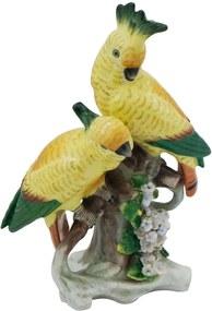 Cacatua em Porcelana Amarela e Verde - 21x14cm
