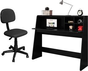 Mesa para Computador Escrivaninha Idealle e Cadeira Giratória CS-02 Preto - Mpozenato
