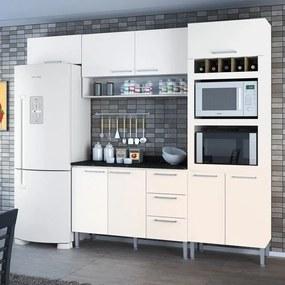 Cozinha Compacta 8 Portas 3 Gavetas Yasmin 0421t Branco - Genialflex