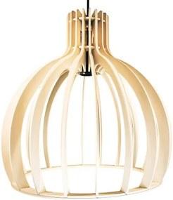 Luminária Pendente Cirkel Marfim em Madeira - Soq: E27 / Tam: 35x35,5cm