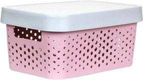 Caixa Organizadora M C/ Tampa - 11L - 35Cm X 25,5Cm X 13,5Cm - Container Pink