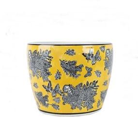 Cachepot em Porcelana Amarelo Borboleta D16cm x A15cm