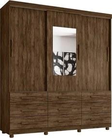 Guarda Roupa Ascoli 3 portas c/ espelho 9 gavetas Jacaranda Moveis Lanza