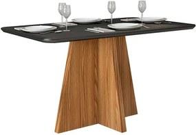 Mesa de Jantar Talía para 4 Cadeiras com Tampo Curvo 136cm Carvalho Nobre Preto