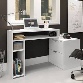 Mesa para Escritório Extensível 2 Gavetas 2 Nicho Msm 420 Branco - Móvel Bento