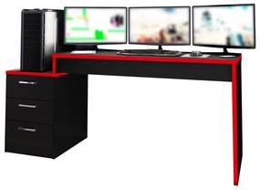 Mesa Gamer PlayerXtreme PRO Preto Texturizado/Vermelho - Gran Belo