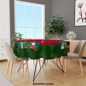 Toalha de Mesa Redonda Para 4 Lugares Papai Noel com Boneco de Neve 1.45m Único