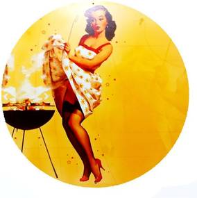 Placa Pin Up Girl Churrasco Redonda