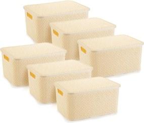 6 Caixas Organizadoras Rattan Grande Cor Creme 28x38,5x19 cm