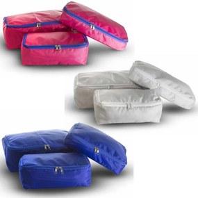 03 Kits Organizadores de Malas - 03 Peças Rosa, Cinza e Azul total 9 Peças